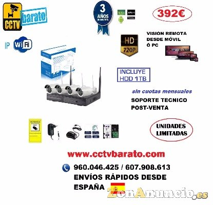 Oferta kit videovigilancia IP WIFI HD Autoinstalable.